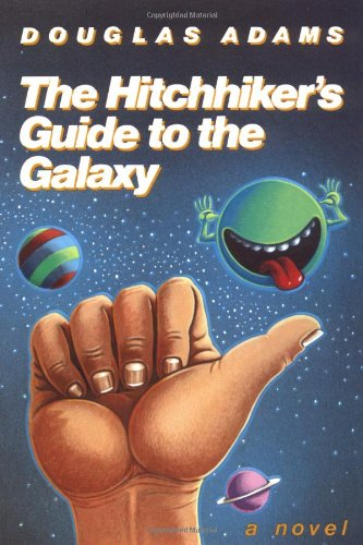 The cover of the novel The Hitchhiker's Guide to the Galaxy by Douglas Adams
