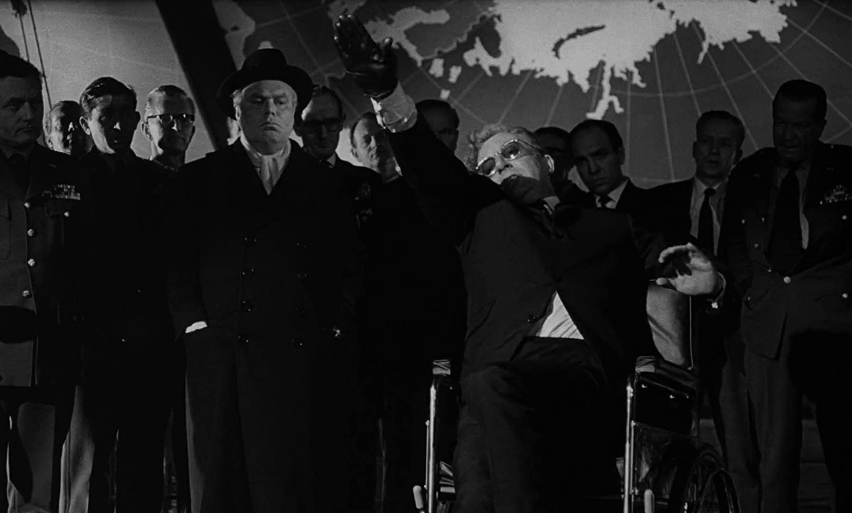 Peter Sellers and the cast of Stanley Kubrick's Dr. Strangelove