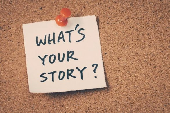 post it on as corkboard reads 'What's Your Story?'