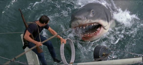 Roy Scheider and the shark in Jaws