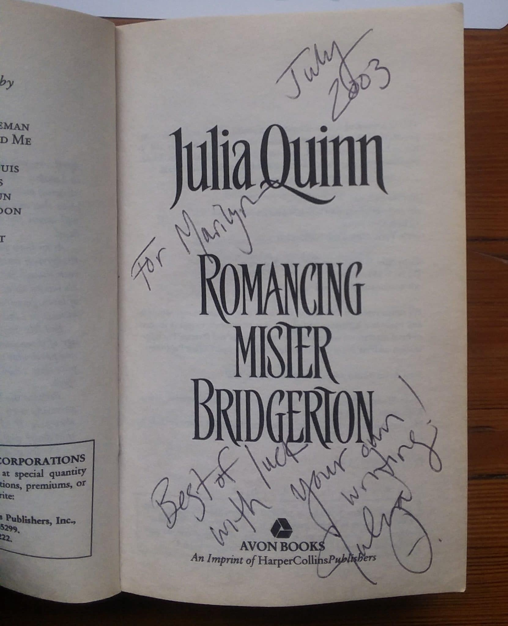 the cover page of Romancing Mister Bridgerton autographed by author Julia Quinn