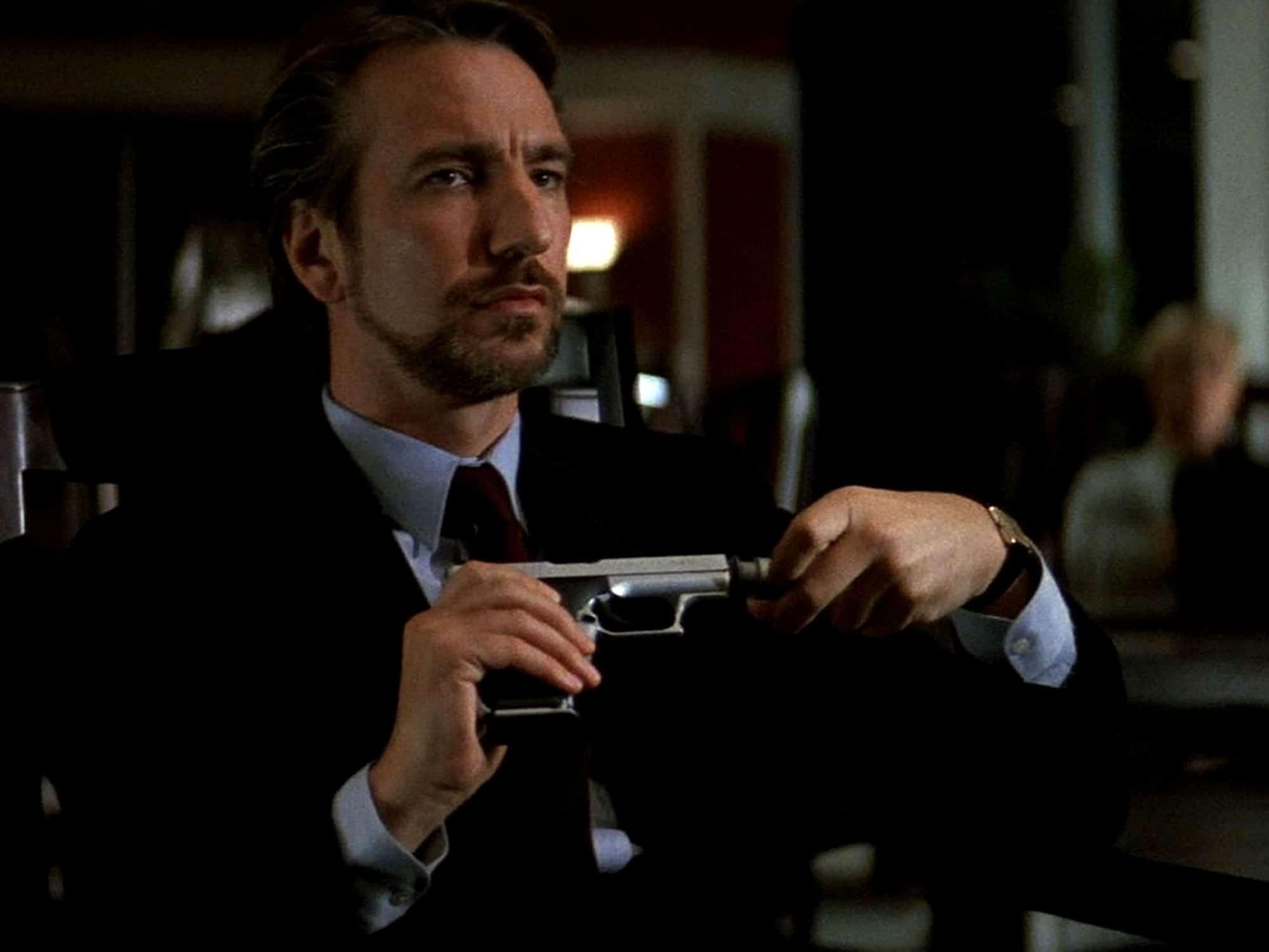 Alan Rickman as the villainous Hans Gruber in Die Hard