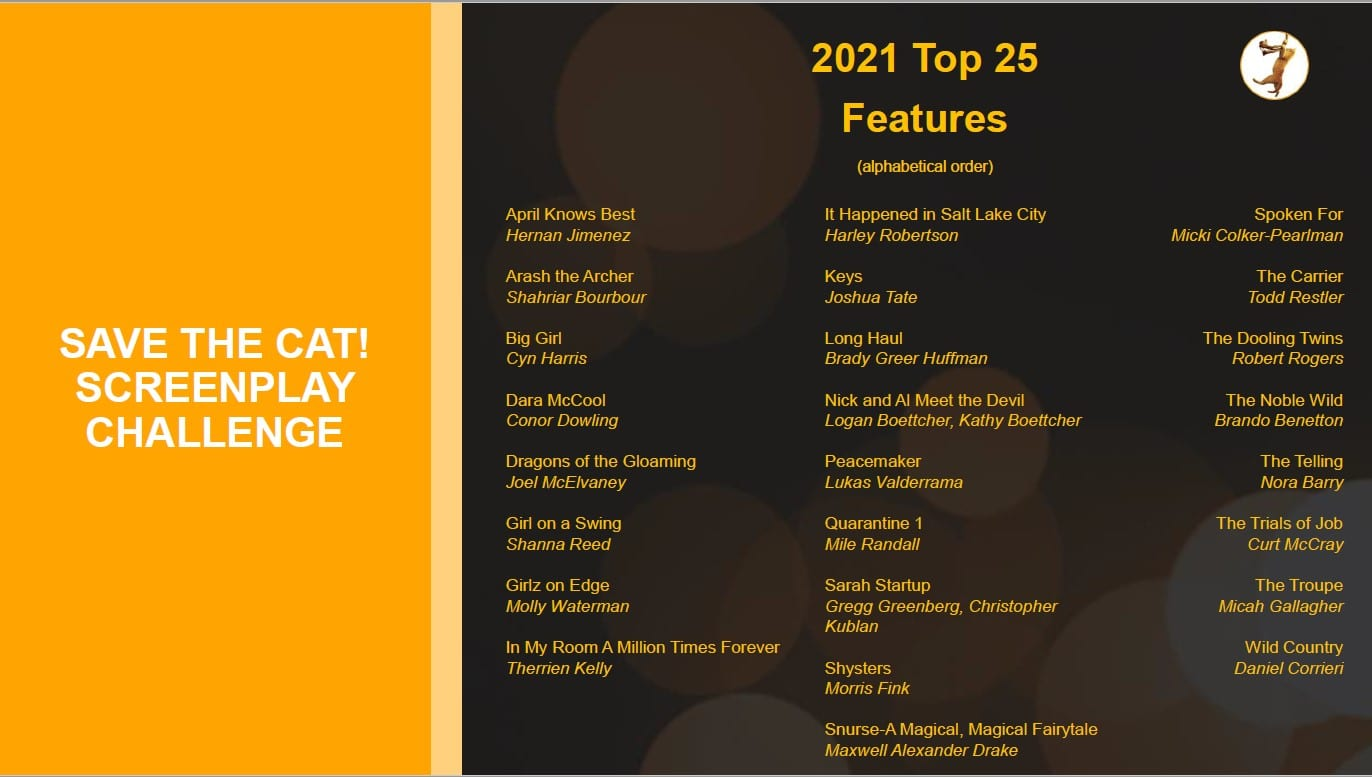 2021 Save the Cat! Screenplay Challenge Top 25 Features