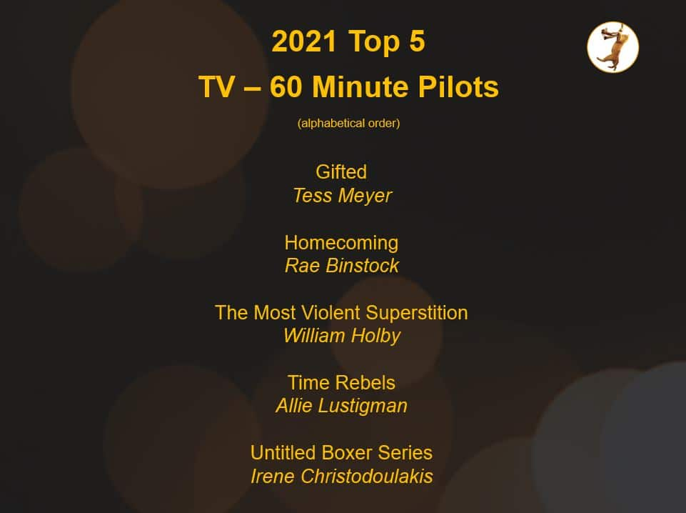 list of top 5 TV pilot scriptys in the 2021 Save the Cat Screenplay Challenge
