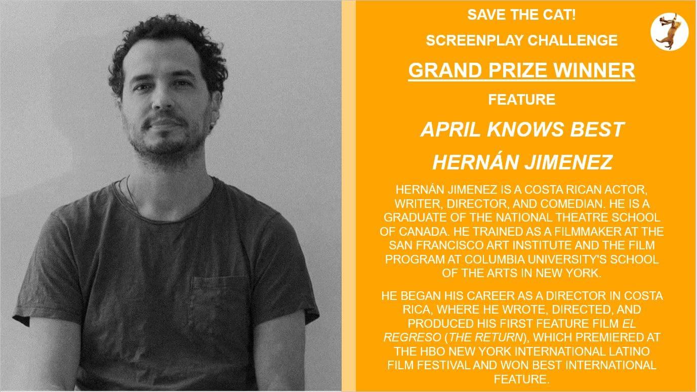 Hernan Jimenez Screenplay Challenge Winner